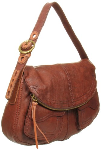 Lucky Brand Stash Leather Foldover Hobo,Vintage Brown,one size