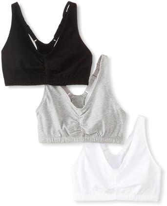 Fruit of the Loom Women's 3 pack Shirred Front Sportsbra, Heather Grey/White/Black Hue, Size 32