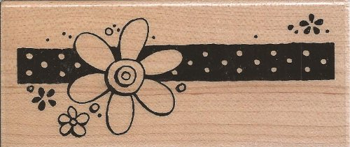 Daisy Dark Border Wood Mounted Rubber Stamp (N193)