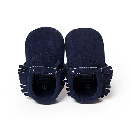 New Infant PU Leather Baby Girls Kids Prewalker Crib Suede Moccasins Soft Shoes Navy Blue 12-18 Month (Baby Girl Navy Blue Shoes compare prices)