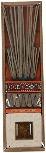 Auroshikha Natural Frankincense Incense Sticks Cone And Incense Holder Gift Box (200 Gm, Brown) Pack Of 1
