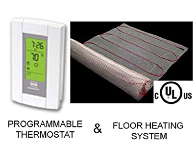 15 Sqft Mat, Electric Radiant Floor Heat Heating System with Aube Digital Floor Sensing Thermostat
