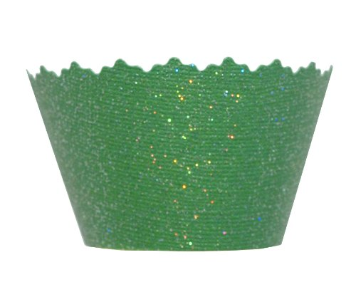 Glitter Green Grass Shiny Cupcake Wrapper - Set of 12 - Fun, Creative, Cool Cup Cake Decorating Ideas
