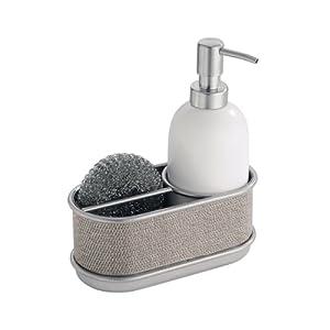 Interdesign twillo kitchen ceramic soap dispenser pump and sponge caddy organizer - Soap pump caddy ...