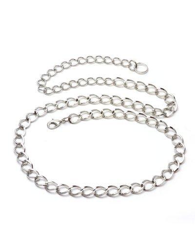 NYfashion101 Trendy Belly Chain Belt w/ Single Link Chain IBT1003-Silver