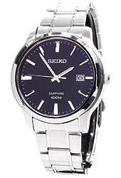 Seiko Quartz Sapphire Black Dial Stainless Steel Mens Watch SGEH41