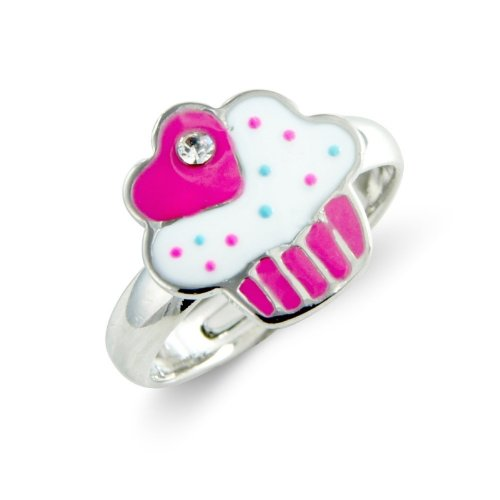 Pink Children's Cup Cake Ring - Childrens Adjustable Ring - Matching necklace and earrings available - will arrive in gift bag