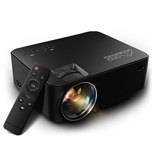 Video Projector 1080P HD, GooBang Doo T20 Multimedia Portable Mini Home Entertainment LED Projector 1500 Lumens 800*480 Resolution for PC Laptop PS4 XBOX and Android TV Box etc, Black