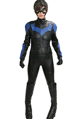 [XCOSER Mens Nightwing Costume Suit Outfits for Halloween Cosplay Small] (Nightwing Halloween Costumes)