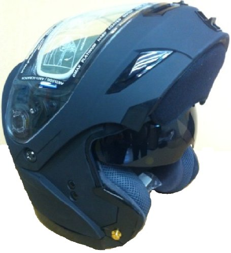 Medium Gmax Special Edition Gm54S Flat Matte Black Modular Snowmobile Helmet With Electric Shield