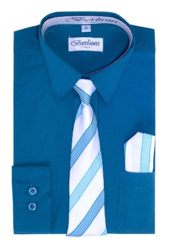 Elegant Boys Button Down Teal (727) Dress Shirt/Necktie/Hanky (20) front-1062292