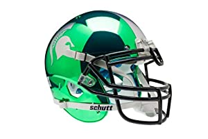 NCAA Michigan State Spartans Authentic XP Football Helmet, Chrome Kelly by Schutt