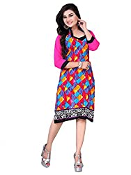 Tulip Collections Women's Cotton Straight Kurta,Blue&Black_XL