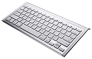 Perixx PERIBOARD-804II W, Wireless Bluetooth Keyboard - White/Silver - Compatible with iPad & iPhone - On/Off Switch - US English Layout