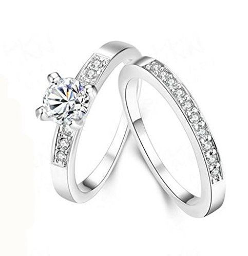 Women Wedding Bands Gold Plated Princess Solitaire Cubic Zirconia Engagement Ring White Size 6 by Aienid