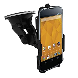 iZKA® - LG Google Nexus 4 ' Made To Measure Windscreen In Car Suction Mount Holder with FULL 360 Degrees Rotation PLUS BONUS Micro USB Car Charger For LG Google Nexus 4