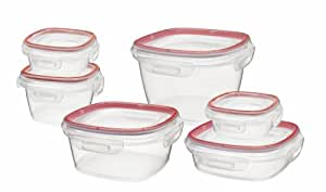 Rubbermaid Lock-Its Food Storage Canister, 12-Piece Set, Red