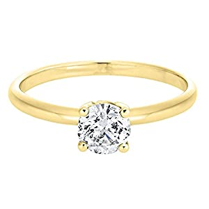 IGI Certified 14k yellow-gold Round Cut Diamond Engagement Ring (0.51 cttw, G Color, SI1 Clarity)