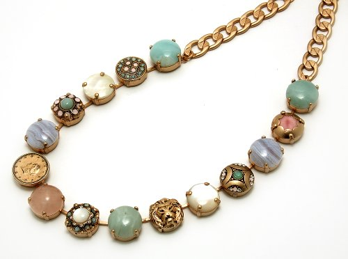 Israeli Amaro Jewelry Studio 'Flow' Collection Collar Necklace Designed with Amazonite, Blue Lace Agate, Mother of Pearl, Pink Quartz, Swarovski Crystals; 24K Rose Gold Plated