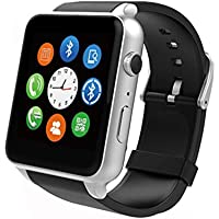 AWOW Smartwatches Bluetooth Heart Rate Hidden Camera Watch Mobile Phone With Touch Screen Black Silver
