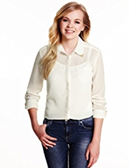Angel Classic Collar Chiffon Shirt with Camisole