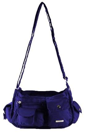Lorenz Canvas Handbag Casual Many Pockets Across Body Long Strap Bag - Royal Blue