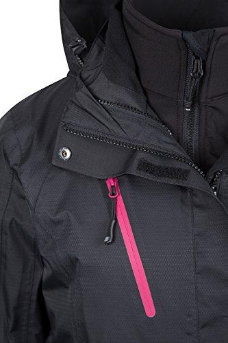 Mountain Warehouse Wasserfeste Bracken Damen 3-in-1 Kapuzenjacke Mantel rausnehmbarer Softshell Innenteil Multifunktionsjacke Regenjacke Schwarz DE 38 (EU 40) -