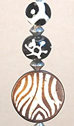 Zebra and Giraffe Brown / Cream African Safari Ceiling Fan Pull Chain
