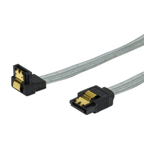 BIGtec 0,5m HDD S-ATA Kabel gewinkelt transparent 1,5GBs / 3GBs / 6GBs (S-ATA L-Type auf L-Type 90) 50cm SATA S-ATA Kabel , vergoldet , gerade / unten , SATA 6 Gb/s , serial ATA Kabel , Stecker mit vergoldeter Verriegelung für bessere Zugfestigkeit , Sata Kabel gewinkelt / gewinkeltes Kabel