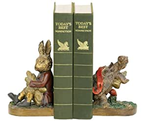 Sterling Home 91-1927 Pair of Bookends, Tortoise and Hare, 6-3/4-Inchs Tall