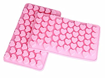 Spove Silicone Mini Heart Shape Ice Cube Candy Ice Cube / Chocolate Mold Pink Pack of 2