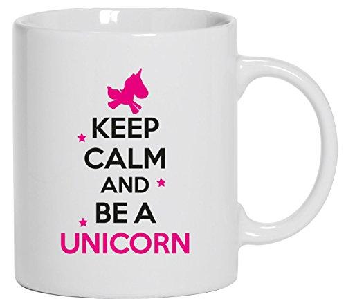 Keep calm and be a unicorn, unicorno Caffè Tazza con motivo cover Tazza Mug tazza da caffè, Ceramica, bianco, Taglia unica
