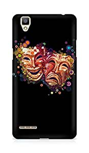 Amez designer printed 3d premium high quality back case cover for OPPO F1 (Masks emotions colorful)