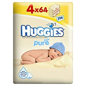 Huggies Pure Baby 64 Wipes Case Of 4 Total 256 Wipes
