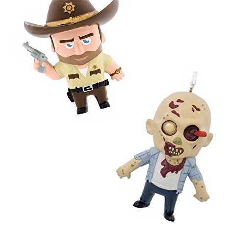 Hallmark The Walking Dead Christmas Ornament Bundle, Rick Grimes & walker Zombie