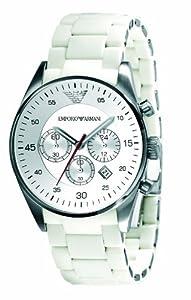 Emporio Armani Men's AR5859 Sport White Silicone Silver Chronograph Dial Watch
