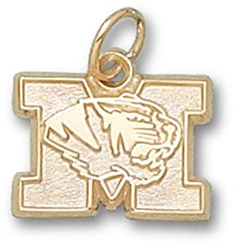 Missouri Tigers New M with Tiger Head 3 8 Charm - 14KT Gold Jewelry by Logo Art