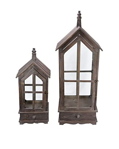 Fantastic Craft Set of 2 Steeple Wood Lanterns, Natural