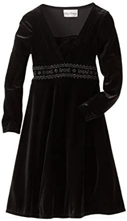 Rare Editions Big Girls' Velvet Dress, Black, 8