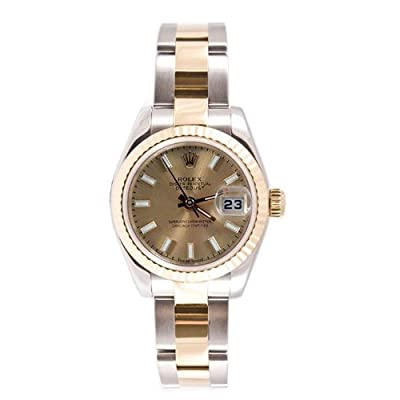 Rolex Ladys 179173 Datejust Steel & 18k Gold, Oyster Band, Fluted Bezel & Champagne Stick Dial