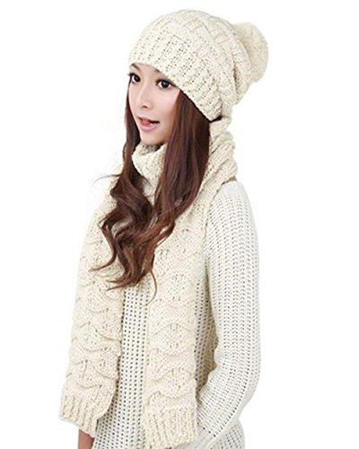 CRAVOG-Bonnet-charpe-kit-Beanie-Crochet-Chapeaux-en-tricot-tricot-Bret-chaud-hiver-Fille-Femme