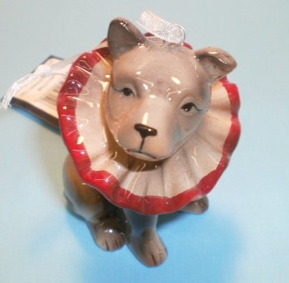 Ceramic Dog Christmas Ornament Vintage Style