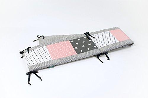 BEBILINO ORIGINAL Tour de lit bébé pour lit 140x70 cm GRIS ROSE (210 x 30 cm)