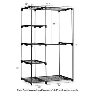 ... Gray Furinno WS15005 Wayar Double Rod Freestanding Closet, ...