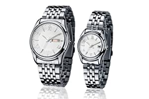 Orient Idea Ori-0093E White Round Dial Silvery Steel Band Quartz Watches for Lovers with Date-and-day Calendar