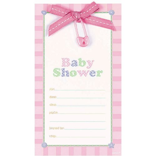 Pink Safety Pin Dlx Invitation - 1