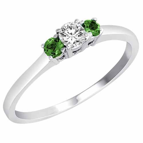 Ring engagement New DivaDiamonds Sterling Silver Round 3 Stone Diamond and E