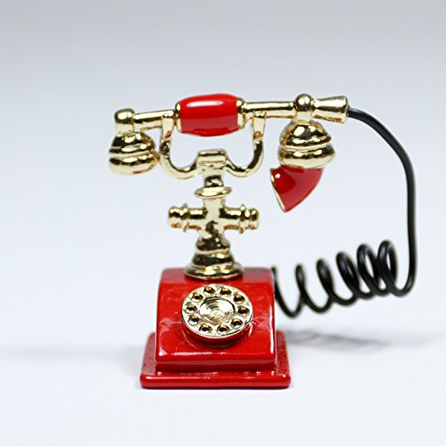 Red Old-Fashioned Rotary Phone Telephone W/Receiver Miniature Dollhouse Toy Gift