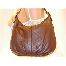 DKNY Chocolate Leather Hobo Handbag