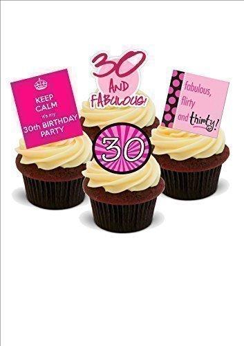 12 x oblato decoración novedad 30A fiesta de cumpleaños Mix para niña - de pie pastel oblato
